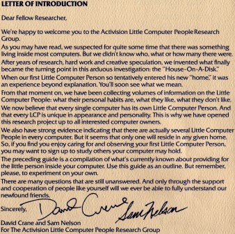 Little Computer People - Letter Of Introduction